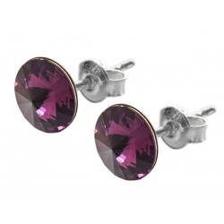 Sterling Silver Stud Earrings made with Swarovski Rivoli 8mm Amethyst