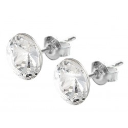 Sterling Silver Stud Earrings made with Swarovski Rivoli 8mm Crystal