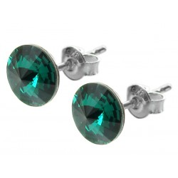 Sterling Silver Stud Earrings made with Swarovski Rivoli 8mm Emerald