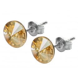 Sterling Silver Stud Earrings made with Swarovski Rivoli 8mm Golden Shadow