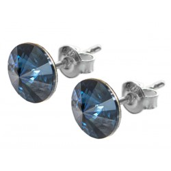 Sterling Silver Stud Earrings made with Swarovski Rivoli 8mm Montana