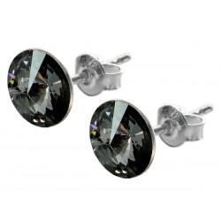Sterling Silver Stud Earrings made with Swarovski Rivoli 8mm Silver Night