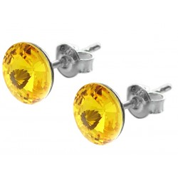 Sterling Silver Stud Earrings made with Swarovski Rivoli 8mm Sunflower