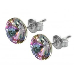 Sterling Silver Stud Earrings made with Swarovski Rivoli 8mm Vitrail Light