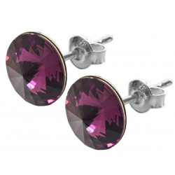 Sterling Silver Stud Earrings made with Swarovski Rivoli 12mm Amethyst