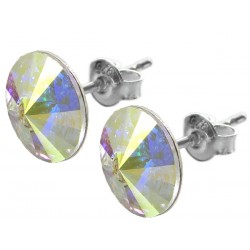 Sterling Silver Stud Earrings made with Swarovski Rivoli 12mm Crystal  AB