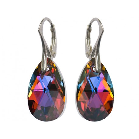 925 Silver Earrings made with Swarovski Pear 22mm Amethyst Blend