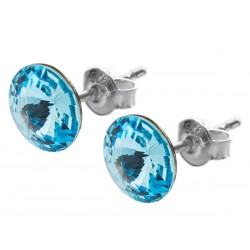 Sterling Silver Stud Earrings made with Swarovski Rivoli 8mm Aquamarine
