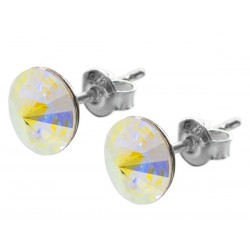 Sterling Silver Stud Earrings made with Swarovski Rivoli 8mm Crystal AB