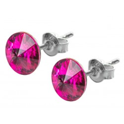 Sterling Silver Stud Earrings made with Swarovski Rivoli 8mm Fuchsia