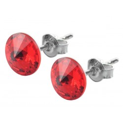 Sterling Silver Stud Earrings made with Swarovski Rivoli 8mm Light Siam