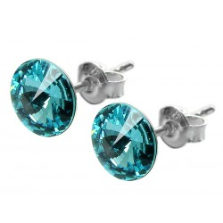 Sterling Silver Stud Earrings made with Swarovski Rivoli 8mm Light Turquoise