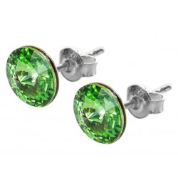 Sterling Silver Stud Earrings made with Swarovski Rivoli 8mm Peridot