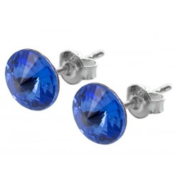 Sterling Silver Stud Earrings made with Swarovski Rivoli 8mm Sapphire