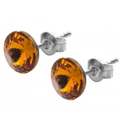 Sterling Silver Stud Earrings made with Swarovski Rivoli 8mm Topaz