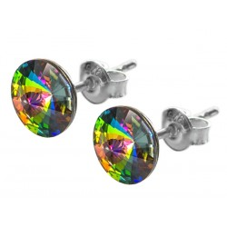 Sterling Silver Stud Earrings made with Swarovski Rivoli 8mm Vitrail Medium