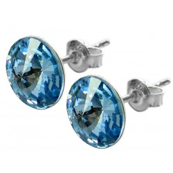 Sterling Silver Stud Earrings made with Swarovski Rivoli 12mm Aquamarine