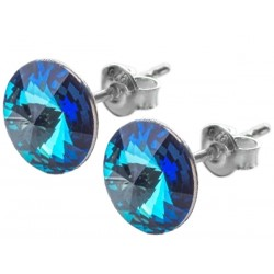 Sterling Silver Stud Earrings made with Swarovski Rivoli 12mm Bermuda Blue