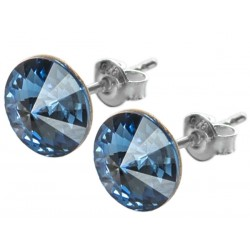 Sterling Silver Stud Earrings made with Swarovski Rivoli 12mm Denim Blue