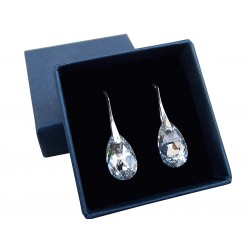 925 Silver Earrings made with Swarovski Pear 16mm Aquamarine AB